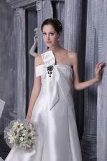 Ivory Strapless Wedding Bridal Dress With Bowknot Emberllish