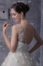 V-neck Floor-length Puffy Wedding Dress With Flowers Decorate