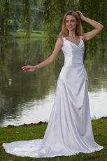 Elegant V Neckline White Taffeta Garden Wedding Dresss With Beading