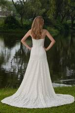Classical Strapless Court Train Lace Wedding Dress For Bride