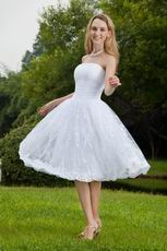 White Strapless Knee-length Short Lace Beach Wedding Dress