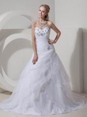 Beaded A-line Sweetheart White Organza Popular Wedding Dress