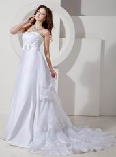 Inexpensive Strapless Appliqued Layers White Bridal Dress For Garden