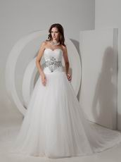 Crystals Lace Up Sweetheart Puffy Bridal Dress With Chapel Train