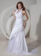 Simple Halter Taffeta Wedding Dress White Hand Made Flowers