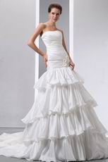 Strapless Flowers Layers Puffy Skirt Chapel Ivory Wedding Dress