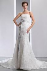 Fit And Flare Silver Belt Trumpet Fishtail Wedding Dress For Bride