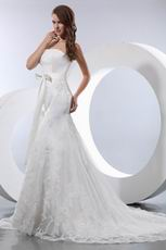 Affordable Strapless Dropped Trumpet Chapel Church Wedding Dress