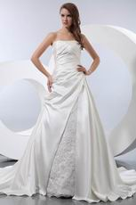 A-line Long Skirt With Button Ivory Church Wedding Gown