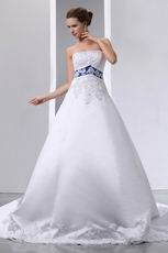 Strapless Appliqued Empire Chapel Wedding Dress With Blue Color
