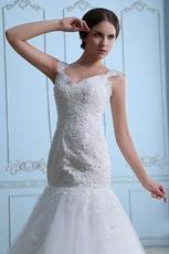 Beautiful Straps Appliqued Mermaid Fishtail Wedding Dresses Gowns