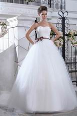 Pretty Sweetheart Ball Gown With Brown Belt Wedding Dress For Sell