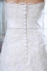 Inexpensive Strapless Mermaid Chapel Wedding Dress With Belt