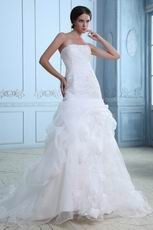 Elegant Sleeveless Appliqued Ivory Organza Wedding Dress Shop