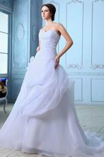 Sweetheart White Organza Skirt Wedding Dress For 2014 Bride