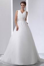 Beaded Belt V-Neck Chapel Wedding Dress Make Your Own