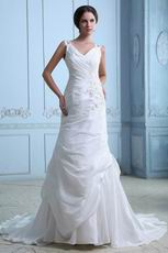 Cheap V-Neck Embroidery Beading Chapel Ivory Taffeta Bridal Dress
