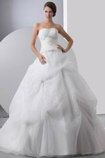 Beautiful Strapless Embroidery Beaded Puffy Bridal Gown