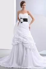 Modest Sweetheart Ruched Black Flower Belt Bubble Wedding Gown