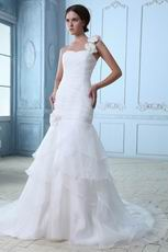 Fashion Flowers Strap Mermaid Layers Organza Princess Wedding Dress