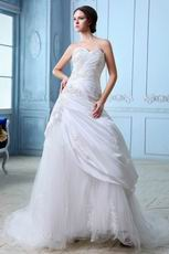 Sweet Heart Style Appliqued Chapel Train Wedding Dress Factory