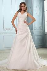 Classic Appliqued V-Neck Chapel Plus Size Wedding Bridal Dress