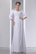 Sweetheart Off Shoulder Half Sleeves Chiffon Dress For Bride