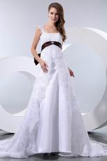 Formal Straps Empire Waist Church Wedding Dress With Brown Bow