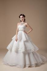Discount Ivory Organza Stain Layers Wedding Dress Manufacturer