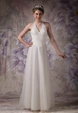 Pretty Halter Appliqued Wedding Dress For 2014 Bride