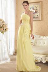 Crystals Emberllish One Shoulder Yellow Chiffon Prom Dresses UK