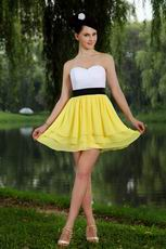 Cute White And Yellow Chiffon Homecoming Dress Under 100