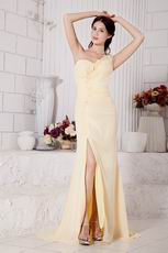 Cross Back One Shoulder Yellow Formal Prom Dress With Spit