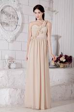 Best One Shoulder Champagne Chiffon Evening With Rosette