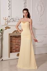 Cheap Sweetheart Yellow Chiffon Evening Party Dress