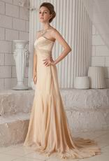 Beaded Sweetheart A-line Court Train Champagne Prom Dress