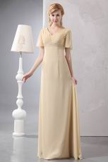 Cheap Short Sleeves Cornsilk Mother Of The Bride Dress