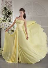 Beaded Sweetheart Yellow Chiffon Designer Prom Dress With Split