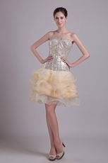 Champagne Flaring Sequin Dress For Sweet 16