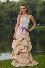 Bubble Skirt Champagne Formal Prom Dress With Lilac Sash