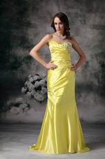 Column Sweetheart Canary Yellow Pretty Prom Dress Cheap