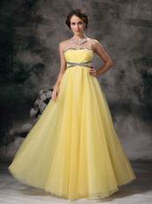 Strapless Backless Moon Yellow Tulle Prom Party Dress