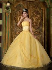 Strapless Yellow Floor Length Skirt Nice Quinceanera Dress