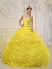 Bright Canary Yellow Picks-up Quinceanera Dress With Beading