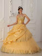 Gold Princess Women Quinceanera Dress With Appliqued Edge Of Skirt