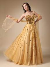 Sweet Heart Golden Sequin Dress For Evening Party Wear