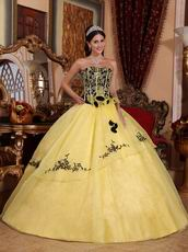 Yellow Embroidery Quinceanera Gown With Handmade Flowers