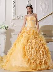 Strapless Chapel Train Daffodil Quinceanera Party Outfits