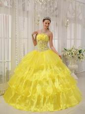 Bright Canary Yellow Cascade Layers Princess Quinceanera Gown