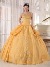 Dark Yellow Spaghetti Straps Quinceanera Prom Dress Cheap